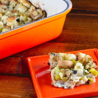 Leek and Fennel Bread Pudding