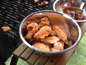 Photo: It was 75 degrees on game day here so instead of heating up the house by turning on the oven, we decided to grill our wings.