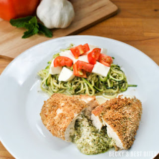 Lemon Mint Pesto and Mozzarella Stuffed Chicken with Zoodles.