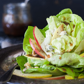Green Dragon Apple Salad with butter lettuce, blue cheese crumbles & walnuts