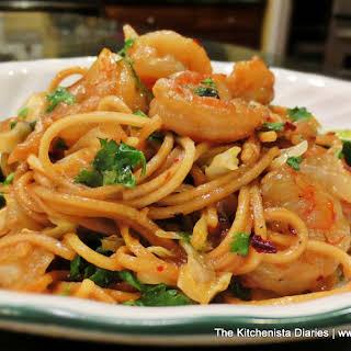 Stir Fried Shrimp, Cabbage & Ramen Noodles.