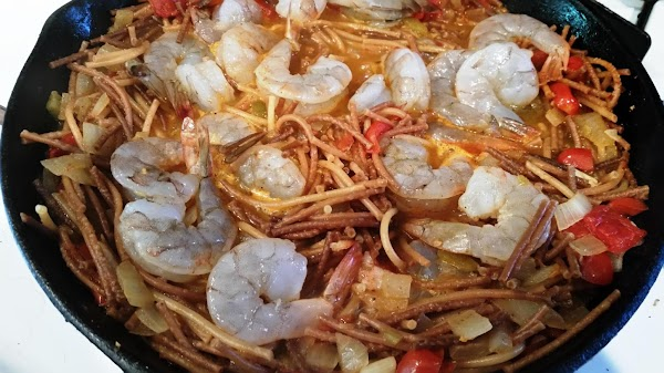 Once pasta is tender, add shrimp and cook for another 2 - 3 minutes,...