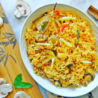 Mushroom Rice Recipe (with Home Made Spices).