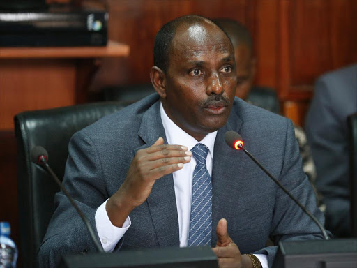 Labour and Social Protection CS Ukur Yatani before the Parliamentary Investment Committee last Tuesday /JACK OWUOR