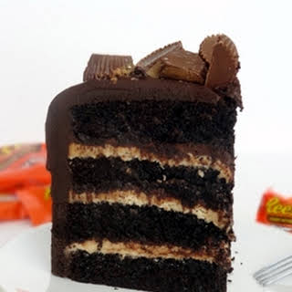 Peanut Butter and Chocolate Cake with Reese's.