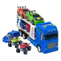 Set camion cu 5 masinute si 2 ATV de jucarie, 68x13x21, 1:24
