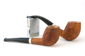 "Photo: The resulting design: a set of two pipes make in ""Peach"" Rustik"