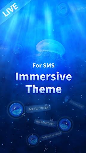 Messenger SMS - 3D Ocean Theme, Call app, Emojis screenshot 1