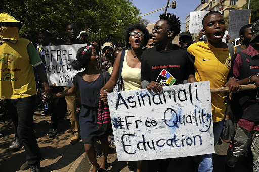 Students demonstrate for free education. President Jacob Zuma is said announce a plan for free education. Picture: THE TIMES