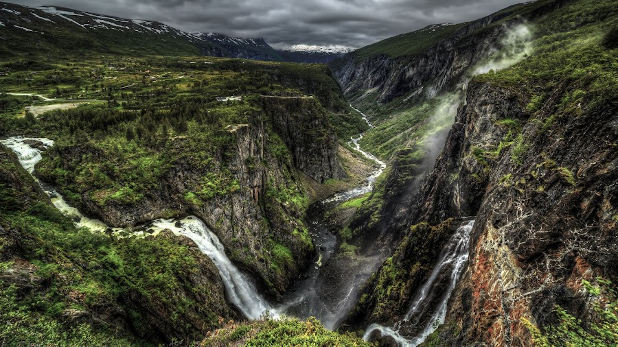On the edge by Sondre Gunleiksrud - Landscapes Mountains & Hills ( clouds, canon, mountain, hdr, green, waterfall, canyon, risky, landscape, rivers, norway, mountains, sky, snow, summer, cloudy, landscapes, river,  )