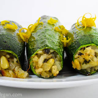 Zucchini Stuffed with Pinenuts and Herbed Basmati Rice.
