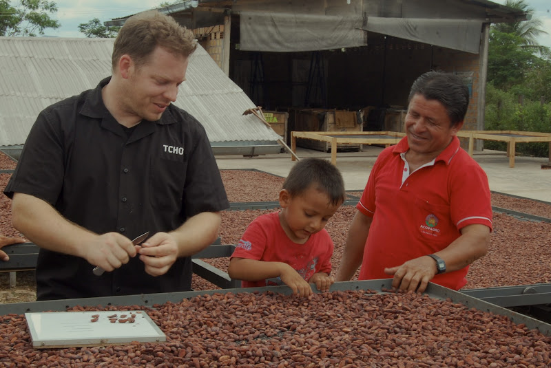 Photo: Cut tests for dried beans with a farmer and his very enthusiast son in Peru.