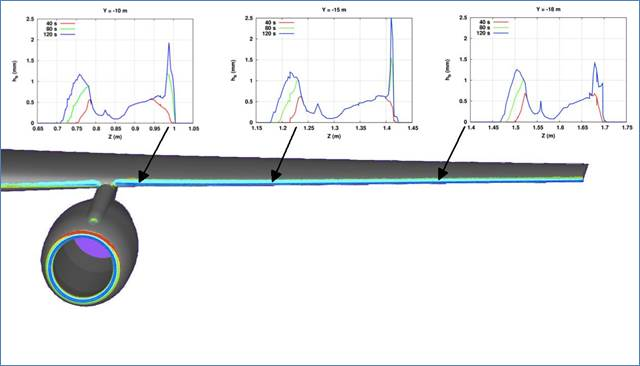 ANSYS Прогнозирование изменения по времени шероховатости поверхности льда в разных местах на самолете