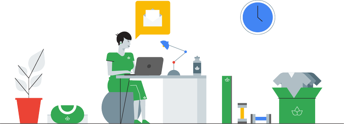 Woman sitting at computer desk with email