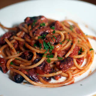 Bucatini with Rita's Spicy Baby Octopus Sauce.