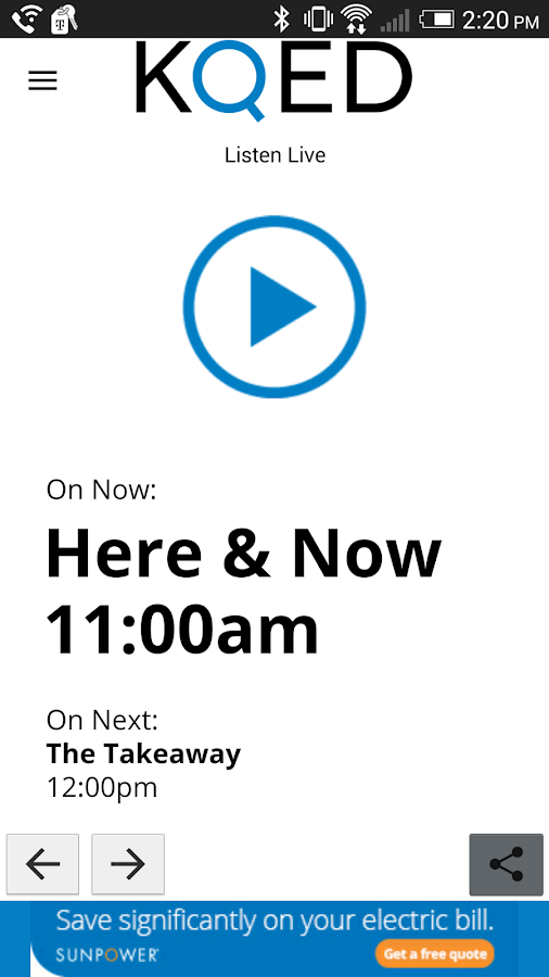 KQED Listen Live- screenshot