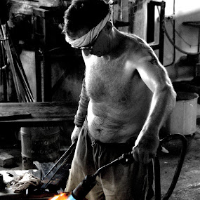 Glass artist at work by Doug Faraday-Reeves - People Street & Candids ( glass art, glass, ron seivertson )