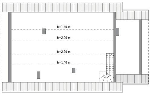 Kształtny - wariant I - C107a - Rzut poddasza do indywidualnej adaptacji (40,3 m2 powierzchni użytkowej)