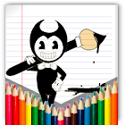bendy run coloring pages icon