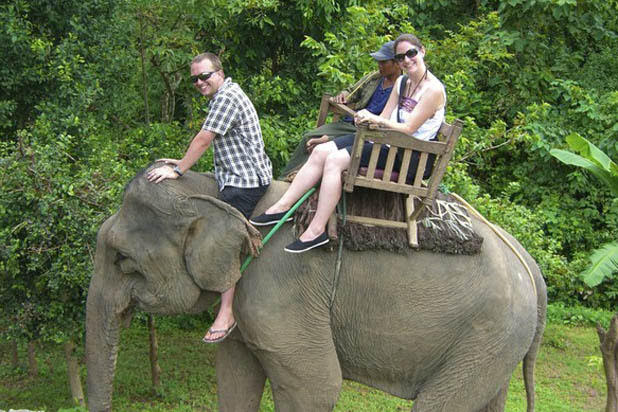 Elephant ride in Luang Prabang