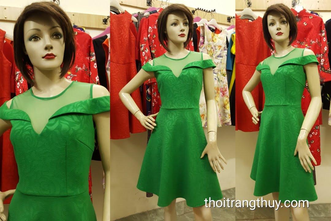 Váy xòe thiên tay bán vai màu xanh lá V484 Hải Phòng