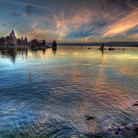 Sunrise, Mona Lake by James Rudick - Landscapes Waterscapes ( waterscape, blue, mona lake, sunrise, World_is_Blue,  )
