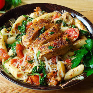 Chicken Penne with Bacon and Spinach in Creamy Tomato Sauce.