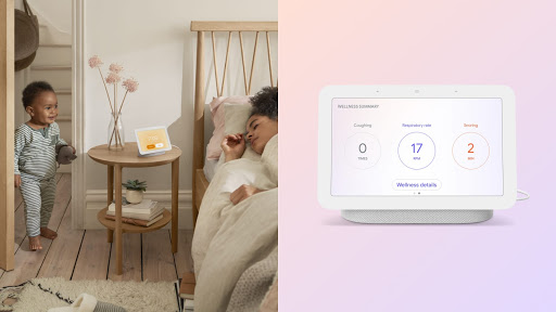 [Image] A toddler boy is smiling as he walks into his mother's bedroom as she sleeps. The Nest Hub display is at her bedside counter displaying personalised insights about her sleep.