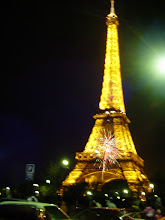 Photo: Midnight approaches at the Eiffel Tower. Because of the recent unrest, the large public fireworks display has been cancelled, but some of the locals have smaller ones to share.