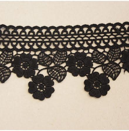 Spetsband Blommor - svart