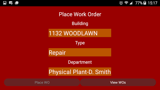 Physical Plant Work Orders- screenshot thumbnail