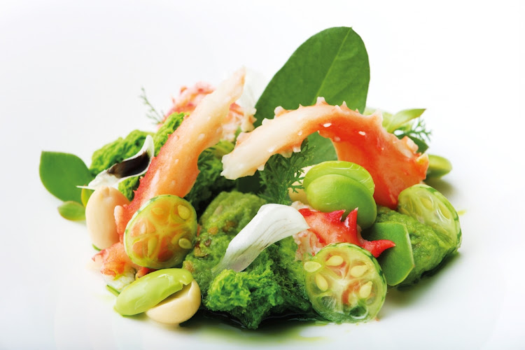 Grei's verbena with king crab and broad beans.