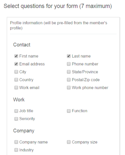 lead-generation form profile information