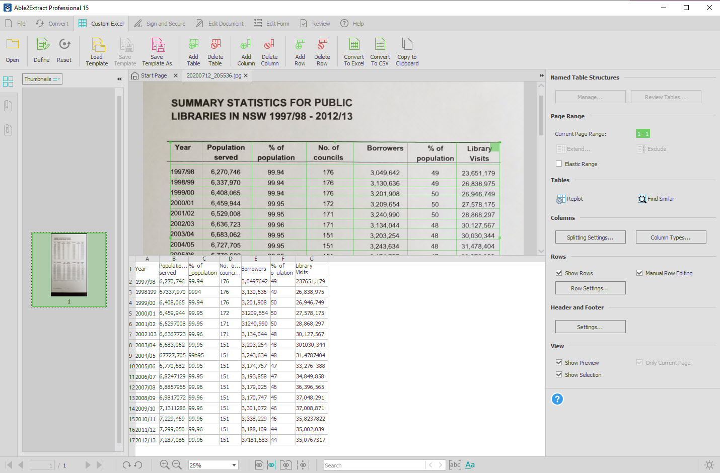 Customizing table conversion in the Custom Excel mode