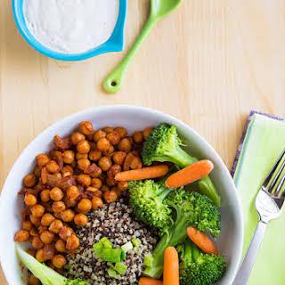 Chickpea and Broccoli Bowl with Tahini Sauce.