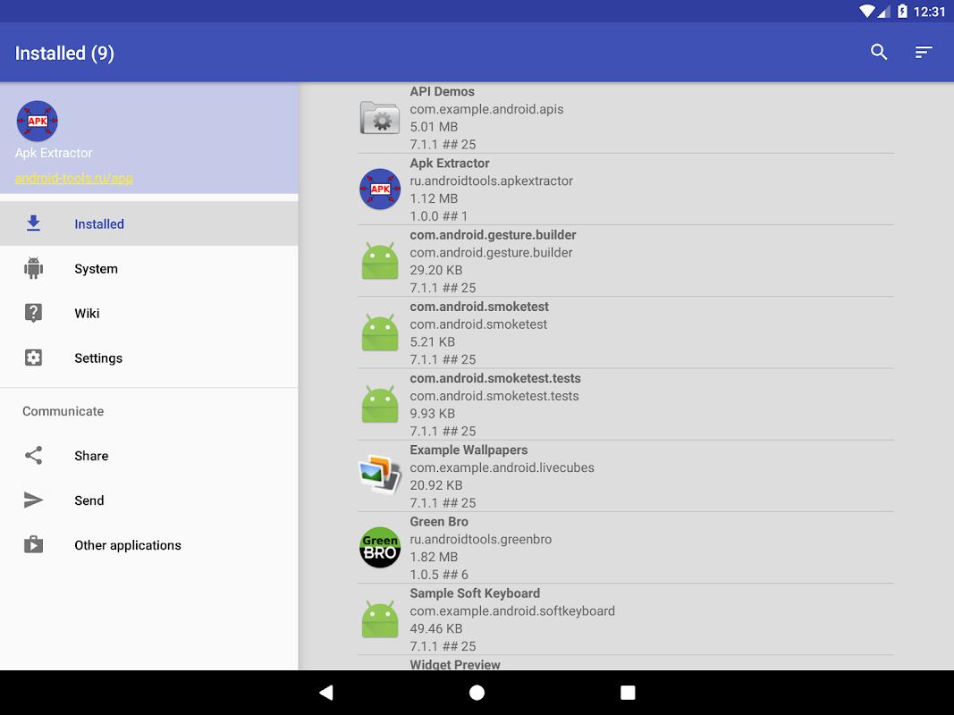 Apk extractor screenshots