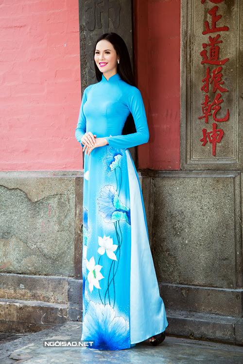 may áo dài nữ hoa sen