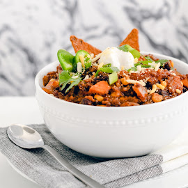 Sweet Potato & Black Bean Quinoa Chili  by Antonio Winston - Food & Drink Plated Food