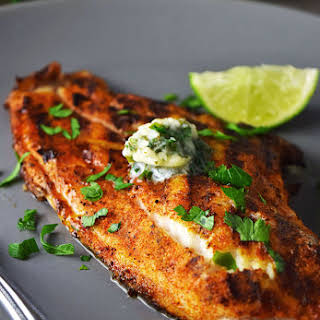 Grilled Blackened Catfish with Cilantro-Lime Butter.