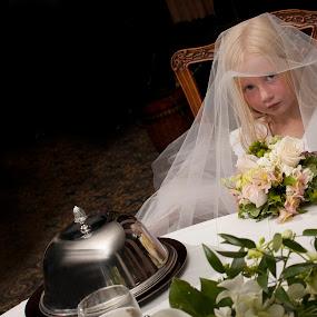 Maggie, the Bride Wanna-be by Bill  Brokaw - Wedding Reception ( wedding, kids, bride, brokaw )