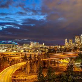 Seattle skyline from Dr. Jose Rizal bridge by Vamsi Sata - City,  Street & Park  Skylines ( freeway, jose rizal bridge, light trails, seattle, skyline )