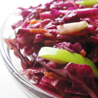 Red Cabbage Coleslaw with Tangy Apple Cider Vinegar Dressing.