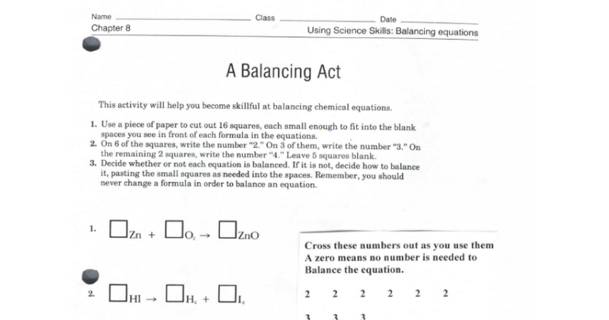 A Balancing Actpdf Google Docs – Balancing Act Worksheet Answers