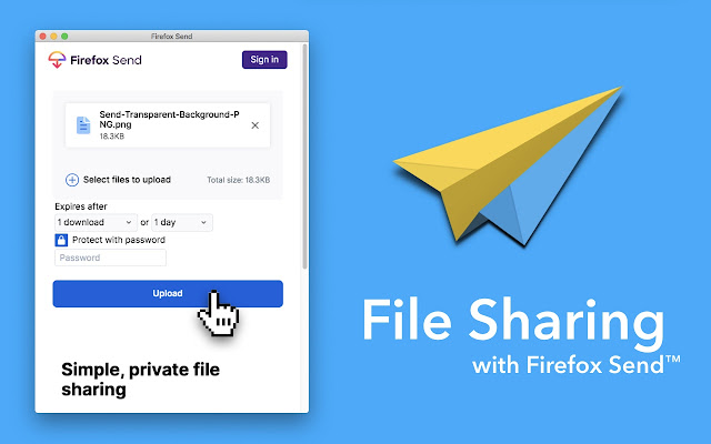 File sharing with Firefox Send (Unofficial)