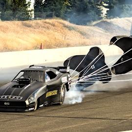 Shute's Away by Mike Lepkowicz - Sports & Fitness Motorsports ( drag racing, chute shot, nostalgia, nhra, funny car )