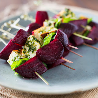 Roasted Beet and Halloumi Skewers