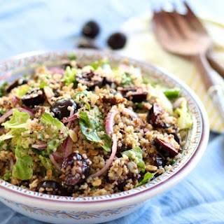 Easy Cherry Almond Quinoa Salad + Honey Ginger Dressing - gluten free, dairy free, egg free, soy free, vegan optional