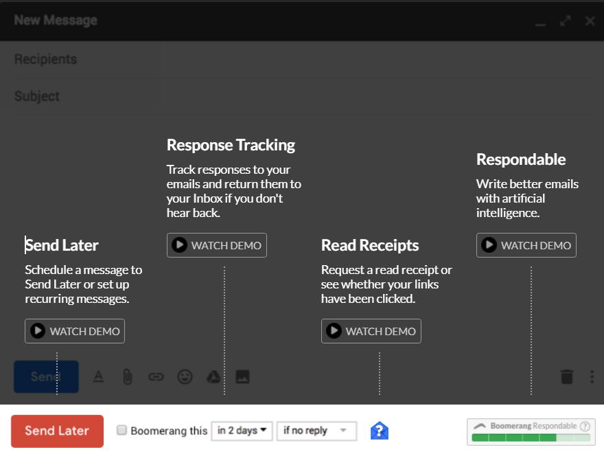 Boomerang for Gmail settings