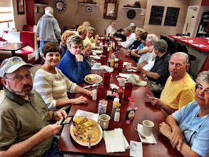 Photo: The next four snaps are from Breakfast Sunday morning at the CG restaurant...all 8 couples attended :).