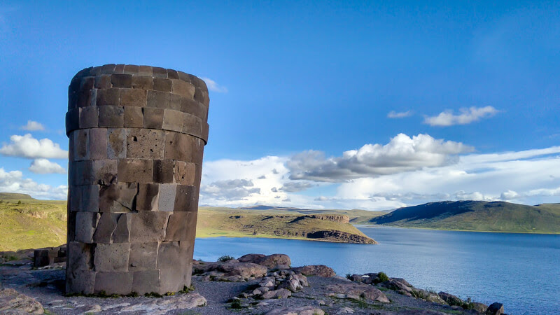 chullpas in Sillustani ruins Incan cemetery on Lake Umayo near Puno and lago titicaca peru south america